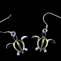 18MM SILVER 925 SHINY HAWAIIAN HONU TURTLE DANGLING EARRINGS WIRE HOOK 2 TONE