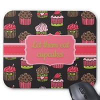 Cute Pink and Lime Green Cupcakes on Brown Mouse Pad