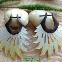 "Stick Post Earrings, ""Sun Rays"" Naturally Organic, Mother Of Pearl and Sono Wood, Hand Carved, Tribal"