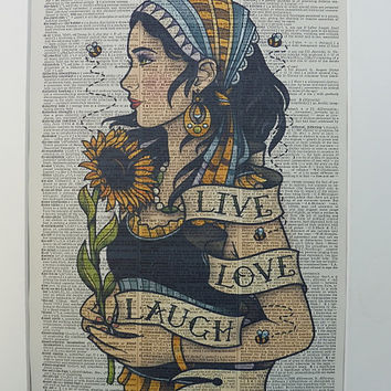 Gypsy Dictionary Wall Art Print No.382, gypsy decor, gypsy clothing, gypsy poster, the gypsy girl, sunflower, bees, gypsy tattoo