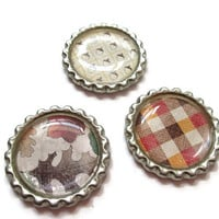 Autumn Magnets - Fall Bottle Cap Magnets - Leaf and Acorn Magnets