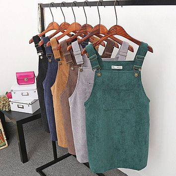 New Summer Women Corduroy Suspender Overall Vest Jumpsuit Braces Skirt Suspender skirts Preppy Style