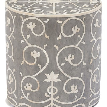Bone Inlay Furniture - Contemporary Grey Wood Round Stool | Free Shipping