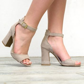 Party Suede Heels | Taupe