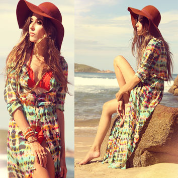 BC213 Floor length half sleeve summer dress 2014 colorful stripes fashion beach clothes v-neck tie dye maxi dresses women