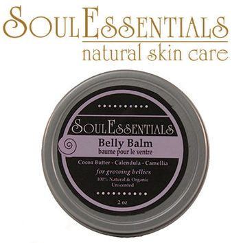 Belly Balm - For Pregnant Bellies - With Organic Calendula and Green Tea Seed Oil - Natural and Organic Skin Care - Stretch Marks