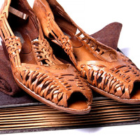 Vintage Woven Leather Wedges
