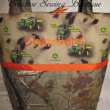 FREE SHIPPING Handmade Realtree camo camoflauge and John Deere dig dirt diaper bag and travel wipe case you choose name