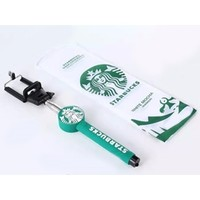 Green Black White Starbucks Wireless Remote Bluetooth Extendable Selfie Stick