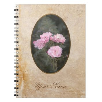Vintage design. Photo of pink roses. Add your text Notebook