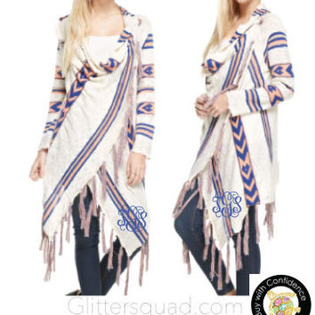 New Trendy 2016 Long Lightweight Tribal Cardigan. Soft & Long Cardigan with Fringe