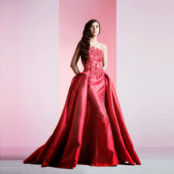 New Fashion Mermaid Prom Dresses with Detachable Train Wine Red Unique Lace Applique Long Evening Dress Modest Formal Party Gown
