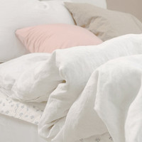 Washed White Colored Linen Soft Twin / Queen Size Bedding Set