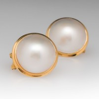 Vintage Mabe Pearl Earrings 14K Yellow Gold