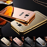 Aluminum Metal Frame Acrylic Mirror Back Cover Case For samsung Galaxy Grand Prime G530 G530H Case For Galaxy S7 / S7 Edge Case