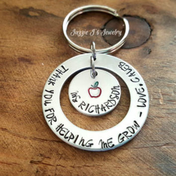 Thank You For Helping Me Grow Teacher Keychain, Personalized Teacher Apple Keychain, Teacher Appreciation, Teacher Gift, Teacher Keepsake