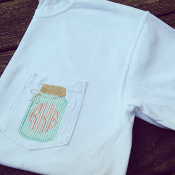 Long sleeved Monogrammed Mason Jar T-shirt - Comfort Colors - Personalized Monogrammed Pocket T-shirts