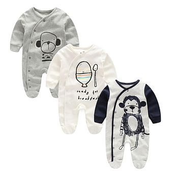 Newborn Baby clothes Winter Long sleeves with feet Baby boy girl clothes Babies overalls Ropa de bebe Infant Product Baby romper