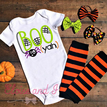 halloween baby outfit, spider baby bodysuit, halloween baby shower gift, fall baby clothes, boo yah bodysuit, halloween costume baby, fall