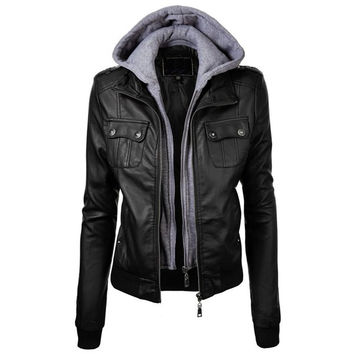 Fashionable Hooded Pocket Design Black Faux Leather Jacket For Women