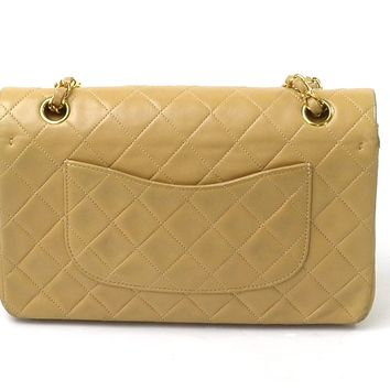Auth CHANEL Matelasse Double Flap Chain Shoulder Bag Beige/Gold Leather - 94430
