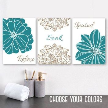 Teal BATHROOM Wall DECOR, Bathroom Canvas or Print, Teal Flower Bathroom Wall Art, Teal Brown Bathroom Relax Soak Unwind Quote, Set of 3
