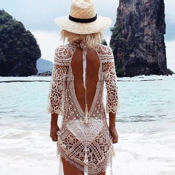 Summer Beach Dress Cover Up Bath Mat Sundress Out Of Dresses And Tunic 2018 Big Sun Sexy Lace Flower Back Bikinis Solid Cotton