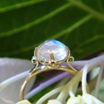 The Venus Lotus Ring in 18k Gold and Rose Cut Blue Rainbow Moonstone, Made to Order