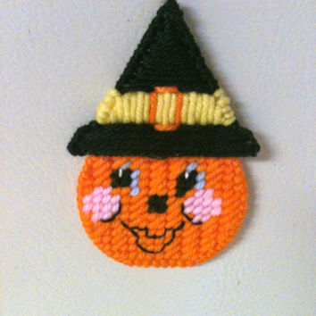 pumpkin magnet needlepoint plastic canvas