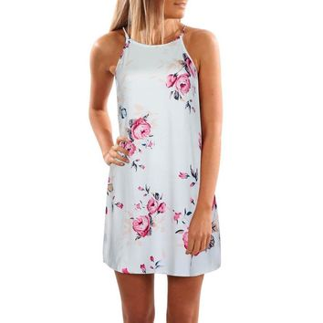 Flower Print Spaghetti Strap Sleeveless Mini Short Dress