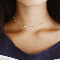 light gold rain drop beaded choker - satellite chain, minimal, delicate, dainty