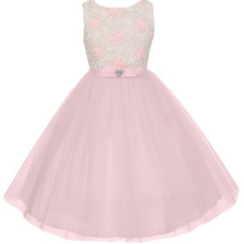 Girls Pink & Ivory Satin Floral Ribbons & Layered Tulle Dress 2T-12