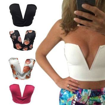 Sexy Deep V Bra Tops Women's Plunge Bustier Bra Crop Tops Blouses Party Club Wear 88 FS99