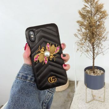 """""""Gucci"""" luxurious Personality Leather Metal Pearl Bee GG iPhoneX/8/6S Hard Phone Case iPhone7 Plus Women Apple Phone Shell"""