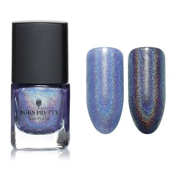 BORN PRETTY 6ml Holographic Holo Light Blue Glitter Nail Polish Varnish Hologram Effect Shimmer Nail Polish 8#