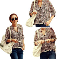 2015 Women Sexy Leopard Shirt Long-sleeved Chiffon Casual Blouse Tops Women's Clothing Plus Size BW72