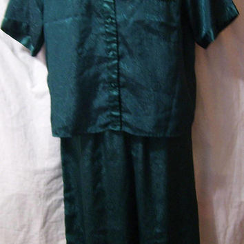Pajamas, Embossed Satin, Short Sleeve, Spruce Green, Lounging, Size M Medium, Inner Most,