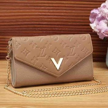 LV Louis Vuitton Fashion New Monogram Leather Chain Women Shoulder Bag Crossbody Bag Khaki