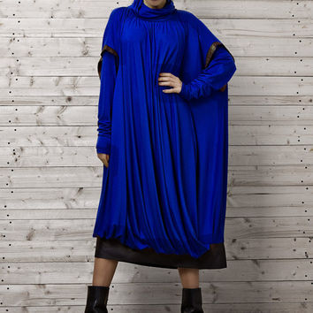 Royal Blue Maxi Dress / Blue Oversize Dress with Long Sleeves / Plus Size Dress / Long Blue Evening Dress / Loose Long Gown by METAMORPHOZA