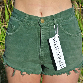 High Waisted Short Shorts Size 4 / 6 Dark Green by ShopMilky