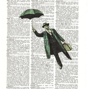 Flying Man Dictionary Art Print