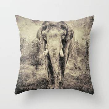 Lone Elephant Throw Pillow by Theresa Campbell D'August Art