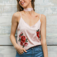 NEW hot sale fashion sexy pink embroidery flower straps vest