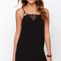 Off to Ibiza Black Lace Slip Dress