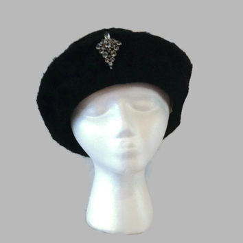 60s Hat / Sharon Originals Black Fur Hat / Breton Hat with Rhinestone Accent