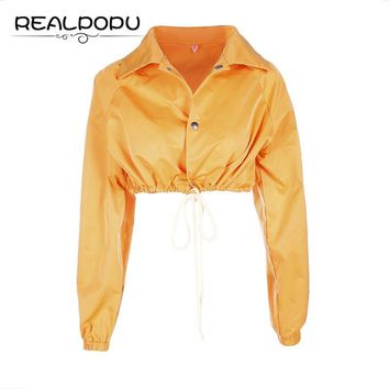 Trendy Realpopu Drawstring Turn-down Collar Jacket Button Long Sleeve Crop Top Autumn Winter Sexy Girl Solid Coat Women chaqueta mujer AT_94_13