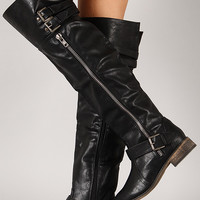 Breckelle Clayton-14 Buckle Zipper Riding Thigh High Boot