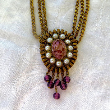 Vintage Sweater Clip Victorian Revival Swag Chain Filigree Art Glass and Pearl Sweater Clip