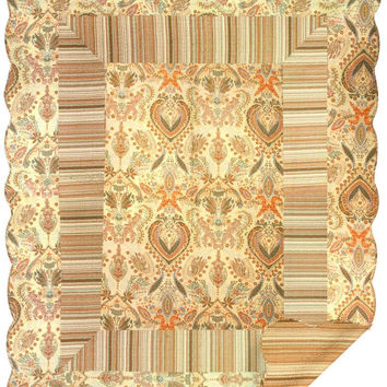 Brown Paisley Stripe Quilt Wall Tapestry Afghans