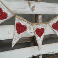 Glitter Heart Burlap Banner, Valentines Burlap Banner, Photo Prop, Rustic Wedding Decor